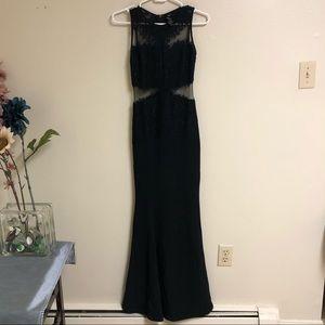 Long Formal Black Lace Gown Sheer Sides Mermaid